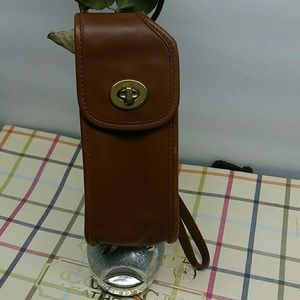 COACH VGT CELL CASE WHISKEY LEATHER